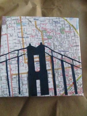GGB on navy blue painted paper on 6x6 map wrapped canvas