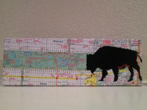 Golden Gate Park Bison on map wrapped 4x12 canvas