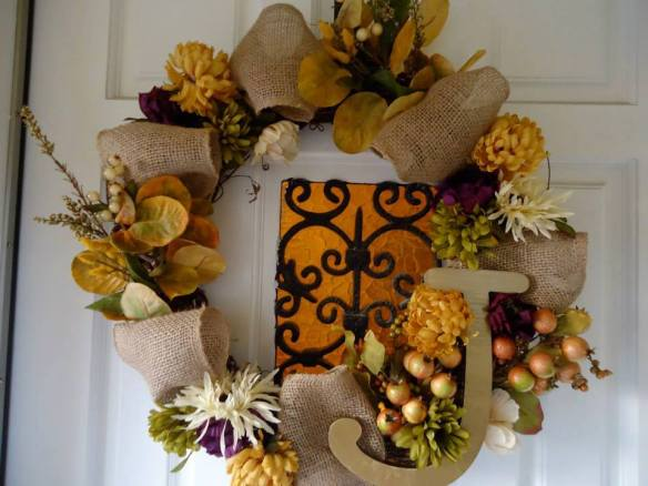 Personalized autumn wreath for a wonderful family