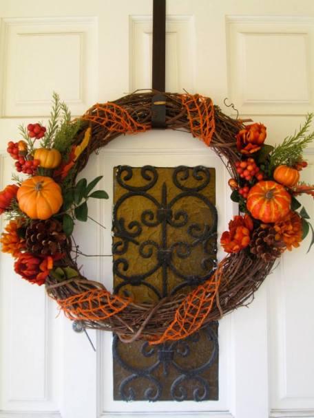 Pumpkin wreath made to match the pumpkin broom