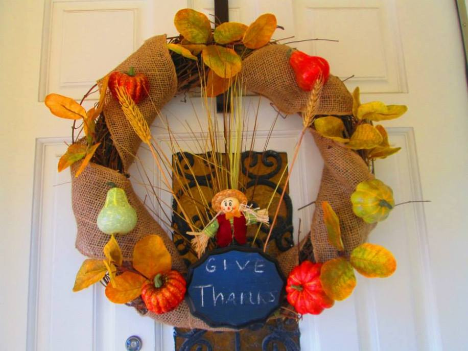 Scarecrow wreath with chalkboard you can personalize - made to match scarecrow broom
