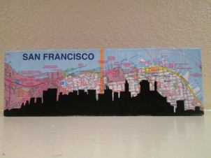Skyline on map wrapped 4x12
